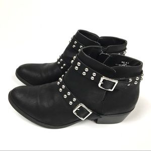 Report Studded Buckle Ankle Boots Size 8.5